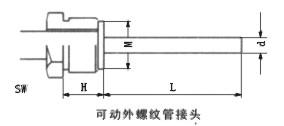 双金属温度计可动外螺纹管接头